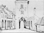 Old Houses Drawings - The city gate by Annemeet Van der Leij
