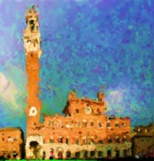 Hall Digital Art Originals - The City Hall in Siena by Asbjorn Lonvig