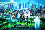 Los Angeles Dodgers Mixed Media Prints - The City of Angels Print by Romy Galicia
