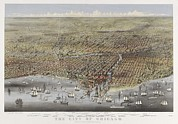 Sailing Ships Prints - The City Of Chicago In 1874. Birds-eye Print by Everett