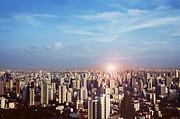 The City On Sunset Print by Setsiri Silapasuwanchai