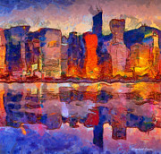 Reflecting Water Paintings - The City Reflecting by Elizabeth Coats