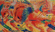 Expressionist Horse Prints - The City Rises Print by Umberto Boccioni