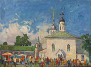 Russia Paintings - The city SUZDAL by Juliya Zhukova