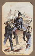 War Drawing Framed Prints - The Civil War, Life In Camp, Riding On Framed Print by Everett