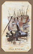 War Drawing Prints - The Civil War, Life In Camp, Stuck In Print by Everett