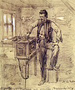 War Drawing Prints - The Civil War. Signal Telegraph Machine Print by Everett
