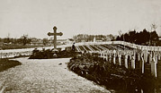 19th Century Cemetery Prints - The Civil War, Soldiers Cemetery Print by Everett