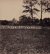 19th Century Cemetery Prints - The Civil War, Union Prisoners Burying Print by Everett