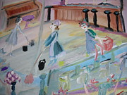 Bartender Paintings - The cleaners at the club dance by Judith Desrosiers
