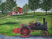 Gravel Painting Prints - The Clemens Farm Print by Vicky Path