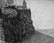 Seascape Drawings Originals - The Cliff by Adolfo hector Penas alvarado