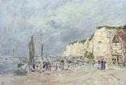 Shore Line Framed Prints - The Cliffs at Dieppe and the Petit Paris Framed Print by Eugene Louis Boudin