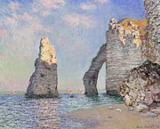 Blue Sailboat Posters - The Cliffs at Etretat Poster by Claude Monet