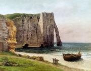 Fishing Painting Posters - The Cliffs at Etretat Poster by Gustave Courbet
