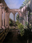 Columes Landscape Pastels Framed Prints - The Cloisters Colonade Framed Print by Judy Via-Wolff