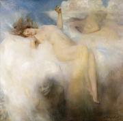 Lady Framed Prints - The Cloud Framed Print by Arthur Hacker