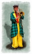 Trombone Digital Art Acrylic Prints - The clown 1 aquarell Acrylic Print by Wessel Woortman
