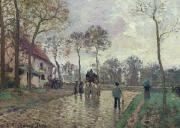 Rainy Street Framed Prints - The Coach to Louveciennes Framed Print by Camille Pissarro