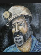 Mix Media Mixed Media Prints - The Coal Miner Print by Shannon Nicole