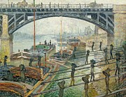 Bay Bridge Painting Metal Prints - The Coal Workers Metal Print by Claude Monet