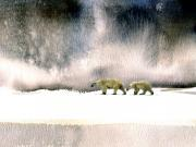 Wildlife Landscape Paintings - The Cold Walk by Paul Sachtleben