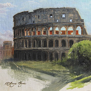 Plein Air Painting Posters - The Coliseum Rome Poster by Anna Bain