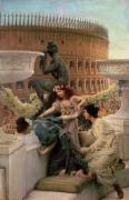 Marble Metal Prints - The Coliseum Metal Print by Sir Lawrence Alma-Tadema