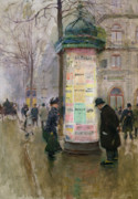Parisian Street Scene Framed Prints - The Colonne Morris Framed Print by Jean Beraud
