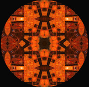 Spirituality Mixed Media Prints - The Color Orange Mandala Abstract Print by Zeana Romanovna