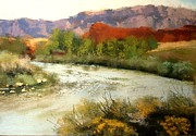Moab Painting Prints - The Colorado Near Moab Print by Bonnie Zahn  Griffith