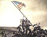 Iwo Jima Drawings - The Colors of Freedom by Adrian Villegas