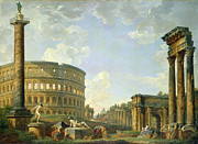 Roman Statue Prints - The Colosseum and other Monuments Print by Giovanni Paolo Panini
