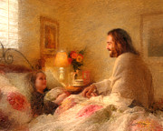 Jesus With Girl Prints - The Comforter Print by Greg Olsen