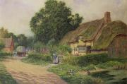Cottages Framed Prints - The Coming of the Haycart  Framed Print by Arthur Claude Strachan
