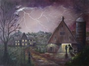 Silos Painting Posters - The Coming Storm Poster by Marlene Kinser Bell