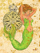 Old Map Pastels Prints - The Compass and the Mermaid Print by William Depaula