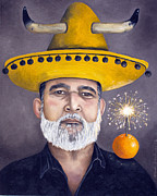 Pittsburgh Steelers Paintings - The Competitive Sombrero Couple 2 by Leah Saulnier The Painting Maniac