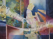Girl Playing Piano Paintings - The Composition by Deborah Ronglien