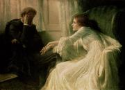 Flirting Painting Prints - The Confession Print by Sir Frank Dicksee