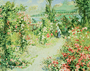 Garden Paintings - The Conservatory by Pierre Auguste Renoir