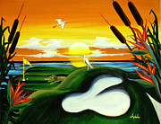 Egret Paintings - The Conundrum by Adele Moscaritolo