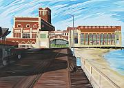Night Scenes Painting Originals - The Convention Hall  Asbury Park  by Patricia Arroyo