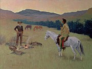 Frederic Remington Acrylic Prints - The Conversation Acrylic Print by Frederic Remington