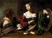 Mirror Painting Framed Prints - The Conversion of the Magdalene Framed Print by Michelangelo Merisi da Caravaggio