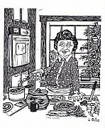 Linoleum Painting Prints - The Cook Print by Barry Nelles Art