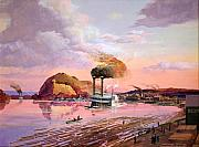 Mississippi River Painting Originals - The Corinth Departing Red Wing by Werner Pipkorn
