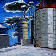 Silos Painting Posters - The Corn Machine Poster by Charlie Spear
