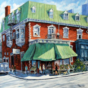 Winter Scene  For Sale Paintings - The Corner Market by Richard T Pranke