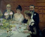 Evening Dress Prints - The Corner of the Table Print by Paul Chabas